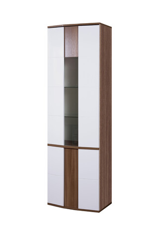Шкаф с витриной Донна арт.50 (ясень шимо темный/белый глянец)