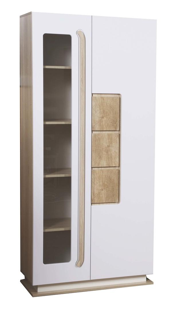 Шкаф с витриной 30.02-02 Дора (дуб сонома/белый глянец)