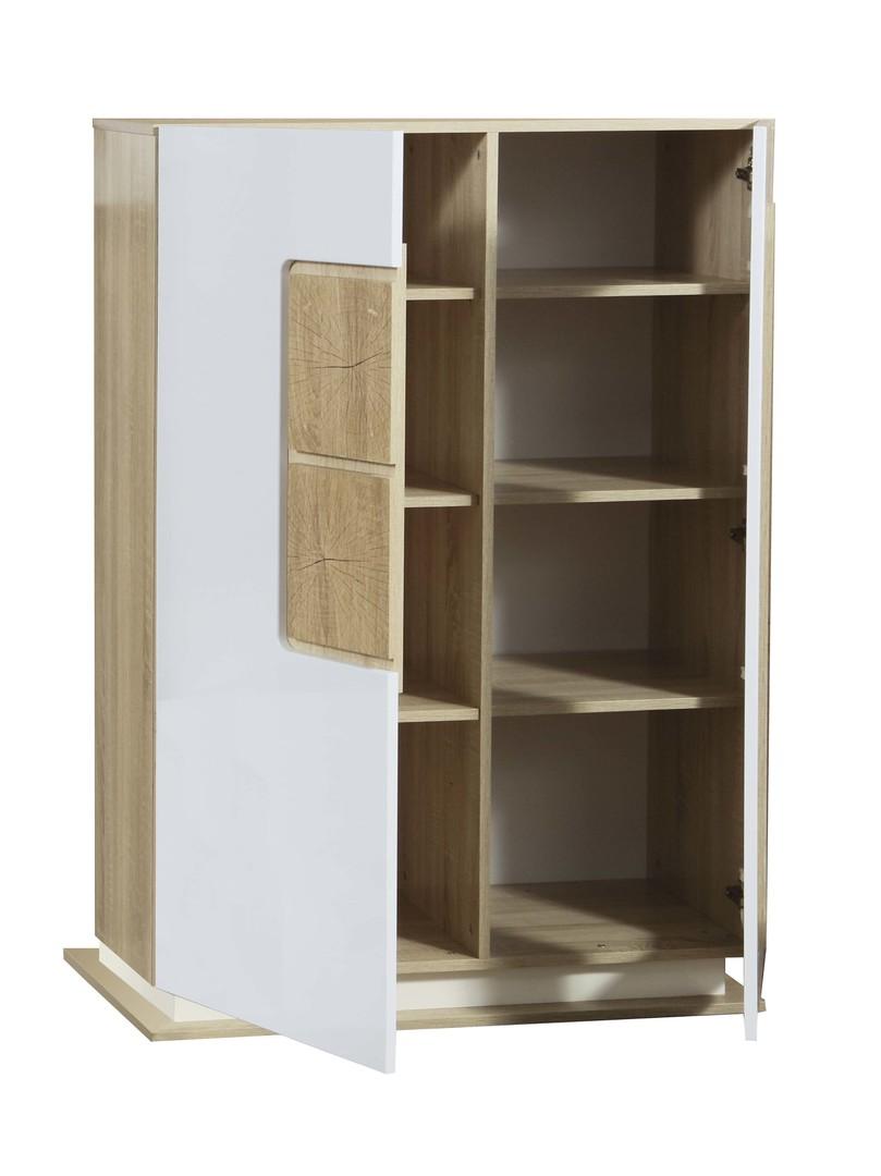 Шкаф с витриной 30.03-02 Дора (дуб сонома/белый глянец)