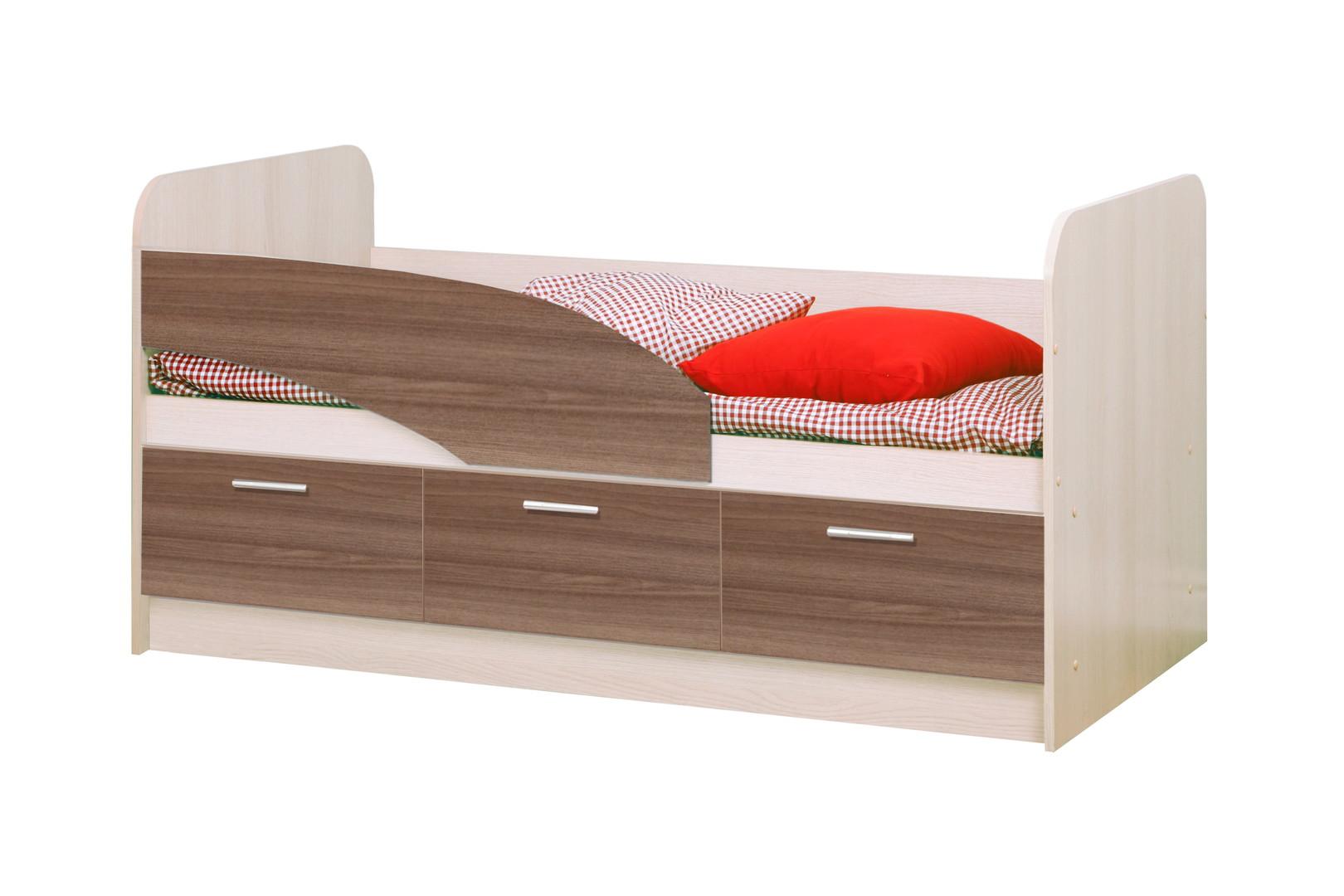 Кровать одинарная 06.223 ЛДСП (ясень шимо темный/светлый)