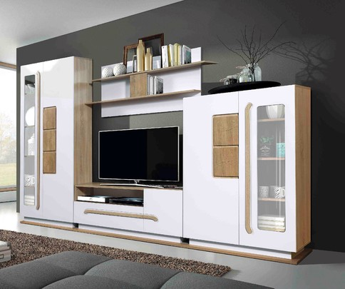 Модульная гостиная Дора 1 (дуб сонома/белый глянец)