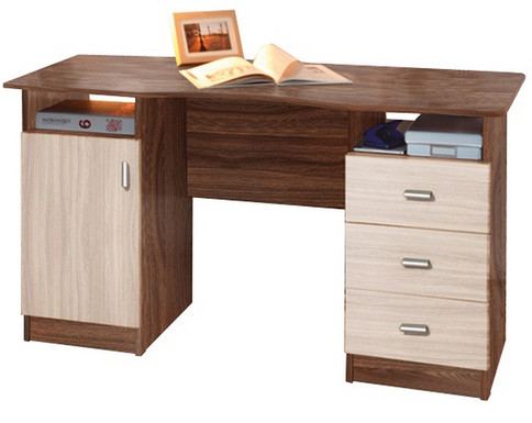 Письменный стол 2-х тумбовый (ясень шимо темный/ясень шимо светлый)