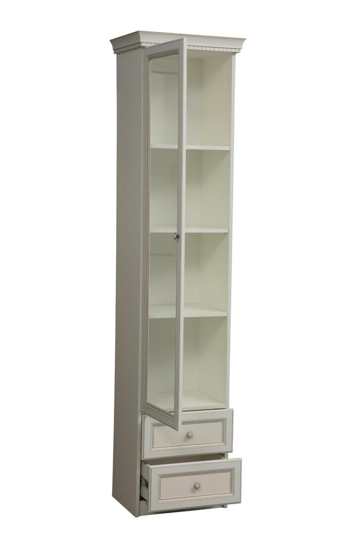 Шкаф 40.04 Эльмира (белый/белая кожа патина)