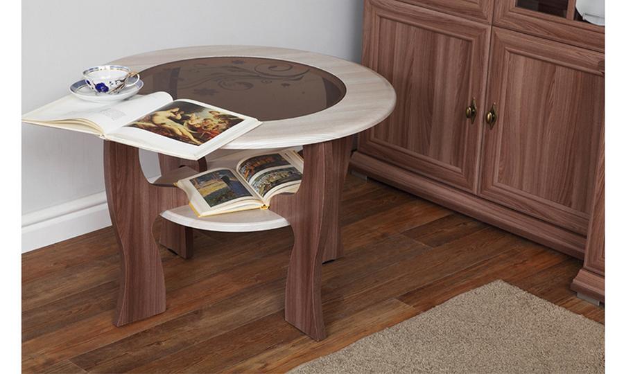 Журнальный стол Маджеста-6 с рисунком (ясень шимо темный/ясень шимо светлый)