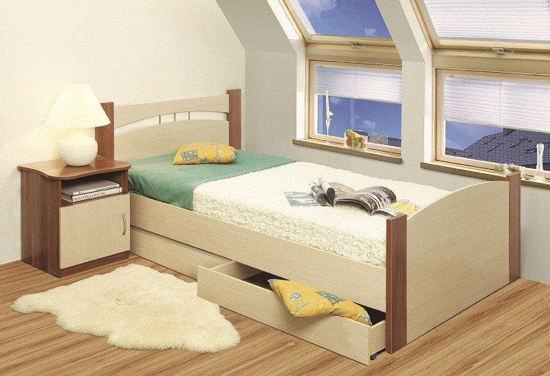 Кровать 900 с ящиком (дуб линдберг/ясень шимо темный)
