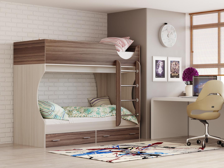 Двухъярусная кровать Д 2 (ясень шимо светлый/темный)