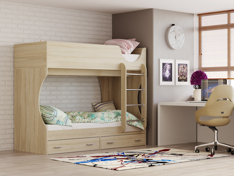 Двухъярусная кровать Д 2 (дуб сонома)