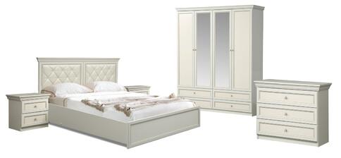 Комплект мебели для спальни Эльмира (белый/белая кожа патина)