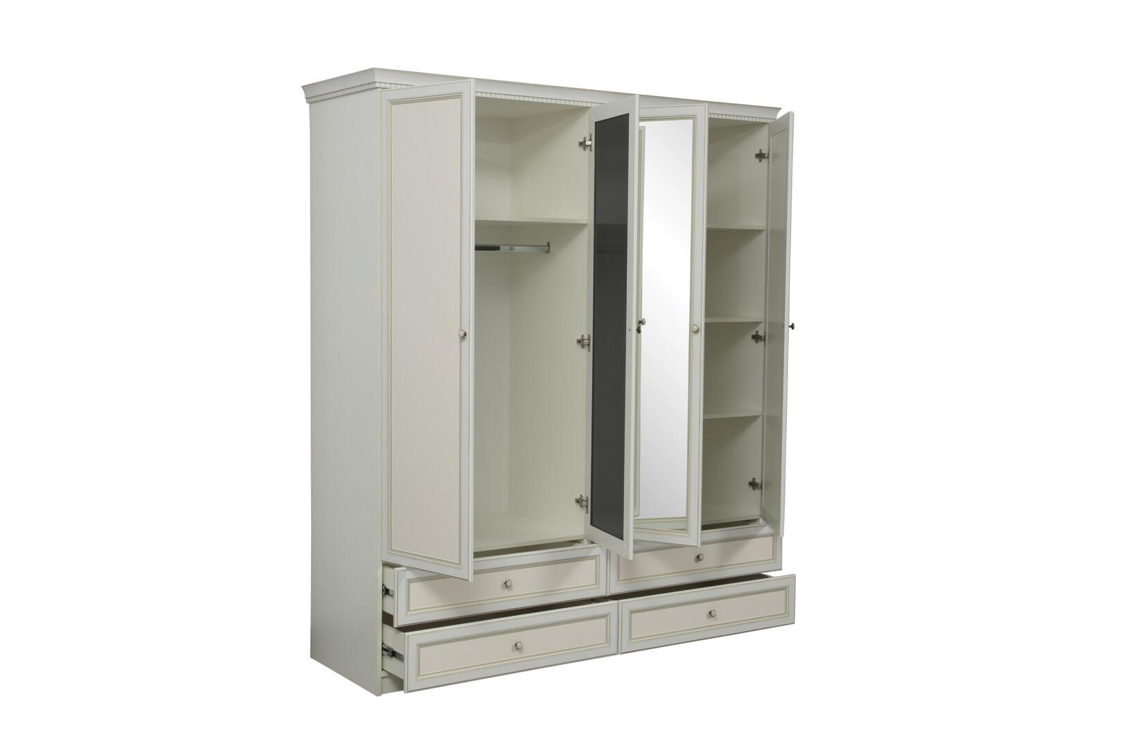 Шкаф 40.01 Эльмира (белый/белая кожа патина)