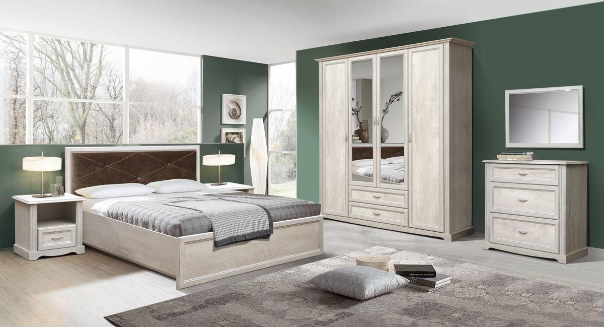 Комплект мебели для спальни Сохо (бетон пайн белый)
