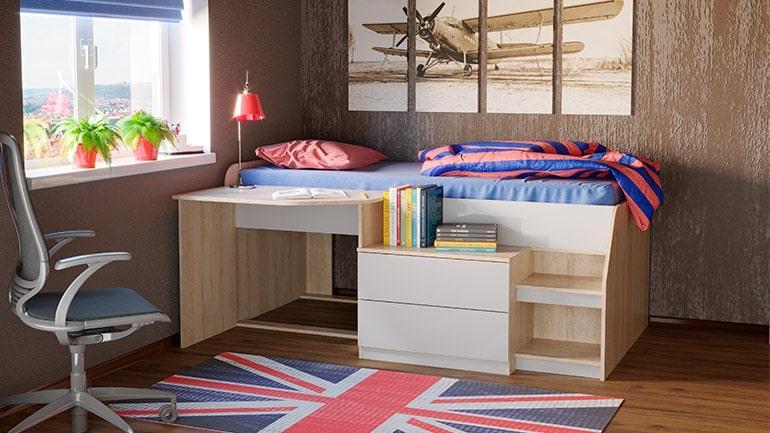 Кровать Тони 12 (дуб сонома/белый)